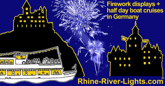 Rhine River Lights - Firework displays + half day boat cruises in Germany